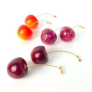 3 Pair Cherry Earrings Dangle Pink Red Yellow NEW